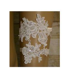 Wedding Garter, Elegant Ivory Venice Lace Garter Set, Unique Vintage Style Garter Set, Beaded Wedding Garter Set, Bridal Garter Belt, L17 by SpecialTouchBridal on Etsy