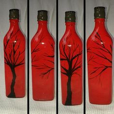 """DARK ZEN BRANCHES BY RED ASIAN SKY ON PAINTED BOTTLE    Yello!    This is an entirely hand painted and individually design art on curvy glass bottle, rather tall as well! A very unique and special piece.    Dark Zen Branches by Red Asian Sky on Painted Bottle    Height, you ask? 27 cm [10.6""""]  Circumference, you doobie doobie doo?  25 cm [9.8""""]    €30"""