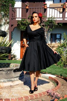 Havana Nights Dress with Three Quarter Sleeve in Black | Vintage Style Swing Dress | Pinup Girl Clothing