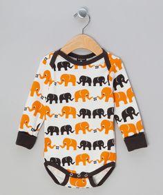 Elephant Print White, Orange & Brown Bodysuit - Infant  by Nosh Organics