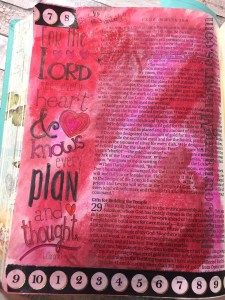 This Bible Journaling entry in the book of 1 Chronicles got a little abstract. I brought out my Gelatos again to make this section of the Inspire Bible stand out.
