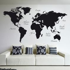 Black World Map Wall Decal by Brewster Home Fashions on World Map Wall Decal, Wall Maps, World Map Stencil, World Map Mural, Map Wall Decor, Watercolor World Map, Wall Stickers, Wall Decals, Retro Wallpaper