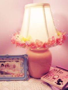 DIY Rose Lamp Tutorial in pink, peach and yellow. #diy #craft project.