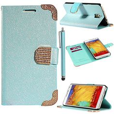 Note 3 Case, Galaxy Note 3 Flip Case - ULAK Luxury PU Leather Bling Wallet Diamond Magnetic Case for Samsung Galaxy Note 3 Note III N9000 with Screen Protector and Stylus (Blue) ULAK http://www.amazon.com/dp/B00GWE1RA0/ref=cm_sw_r_pi_dp_QDGkub1KYWVJ1