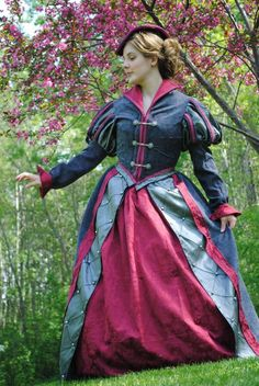 CUSTOM Tudor Court Renaissance High Collared Riding Dress Outfit Costume- 4 pieces include 2 skirts, jacket and hat