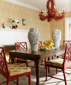 coral and yellow dining room by Katie Ridder
