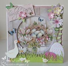 Chantals Crea Blog: Vrolijk Pasen! Diy Cards, Handmade Cards, Marianne Design, Banners, Cardmaking, Decoupage, Diy And Crafts, Floral Wreath, Spring