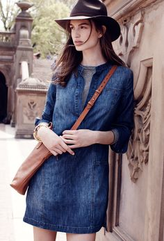 This would work nicely over a long-sleeved tee, tights and boots. Make with modified HotPatterns Refined Peasant Blouse.