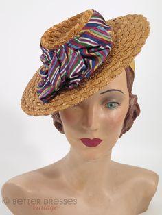 30s/40s Straw Boater Tilt Hat by Better Dresses Vintage