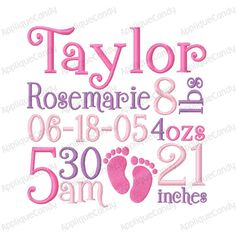 CUSTOM EMBROIDERY DESIGN    You will receive one custom digitized Subway Art Birth Announcement Embroidery Design  Available Sizes: 4x4 5x5 6x6 7x7