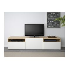 BESTÅ TV bench - white stained oak effect/Lappviken white, drawer runner, soft-closing - IKEA