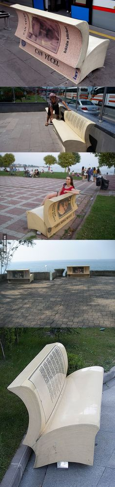 Public benches in Turkey that are shaped like books opened up to classic passages