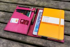 Balance the Analog and Digital.Handmade Pink Leather Leuchtturm1917 A5 Notebook and iPad mini cover.Compatible with;Leuchtturm1917 A5 Notebook (Hard or Soft cov