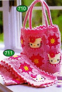Crocheted Hello Kitty Pattern – Crochet and Knitting Patterns Crochet Girls, Love Crochet, Crochet Motif, Crochet For Kids, Crochet Baby, Crochet Patterns, Hello Kitty Crochet, Hello Kitty Bag, Crochet Hats