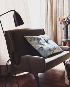 """#martynthompsonstudio King Euro tapestry pillow sitting on a settee designed by #gioponti for the #hotelparcodeiprincipi 