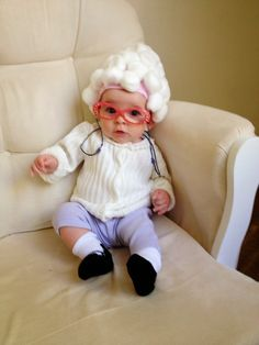 It's not too late to figure out a cute, quick, funny costume for your little one! DIY old man / old lady costume. SO CUTE.