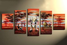 5250 handmade 5 piece modern landscape African celebrate picture oil painting on canvas wall art for living room free shipping $52.00