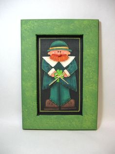 St. Patricks Day, Luck of the Irish, Leprechaun, Framed in Greens, Tole Painted. $19.50, via Etsy.