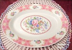 Oval Porcelain Platter With Pink Roses Shabby Cottage Chic New Without Tags #Unbranded