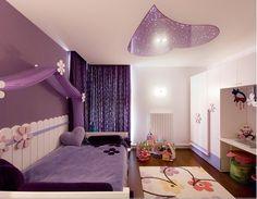 梦幻紫色的儿童房。