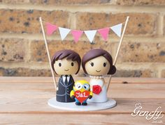 Cute bride and groom with Despicable Me Minion #wedding #caketopper by Genefy Playground.