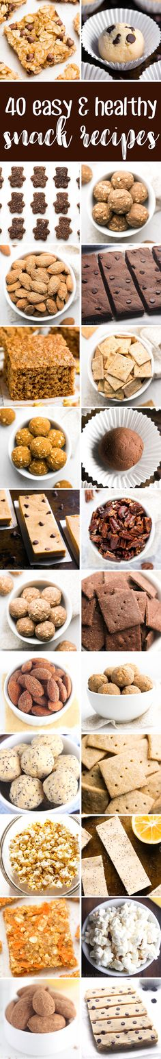 40 Easy & Healthy Snack Recipes -- all made with NO artificial ingredients, refined flour or sugar! And they taste AMAZING! I bookmarked all of these recipes! #healthy #snacks #recipes #cleaneating