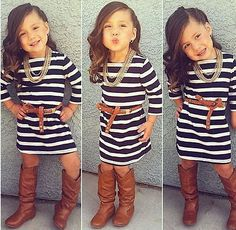 New Fashion Kids Baby Girls Long Sleeve Striped Dress  Casual Clothes 2-8Y