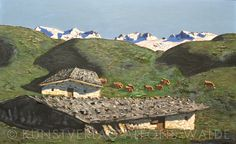 Mountains, Nature, Painting, Travel, Scenery, Alps, Woodland Forest, Culture, Painting Art