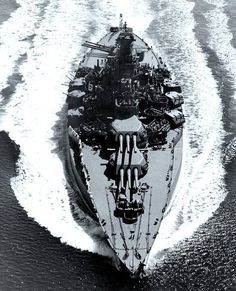 USS Tennessee (BB-43). Underway in Puget Sound, Washington, on 12 May 1943, after modernization. Note the greatly increased beam that was one element of this work. Photograph from the Bureau of Ships