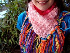 LAST ONE with this discontinued yarn (*sob*!): Colorblocked, loooooooong pink scarf with funky, bold, rainbow fringe by CricketsCreations (see fun ways to wear by clicking pic until u see more images), $45.00