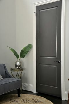 Love the dark grey interior doors. Black/Gray Painted Interior Doors I did this to my clients house and we painted her kitchen cabinets the same charcoal grey :) Grey Interior Doors, Painted Interior Doors, Painted Front Doors, Interior Paint, Interior Design, Interior Door Colors, Interior Door Styles, Monochrome Interior, Pastel Interior