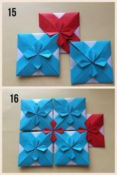 上の図は7.5㎝の折り紙を13枚使っています お花の部分を折り込むところ(工程11〜14) は細かい作業ですので、はじめは10㎝くらいの折り紙の方が作業がしやすいかもしれません モザイク模様・お花 1〜7 図のように折りすじをつけてください... #OrigamiLife
