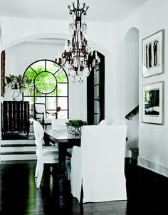 black and white home design room design designs home design house design House Design, White Home Decor, Home, Black And White Dining Room, Black And White Decor, White Houses, White Interior, Black Floor, White Rooms