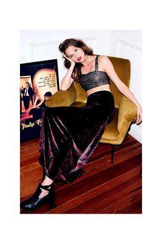 Ecote Half-Moon Velvet Maxi Skirt- Black Multi- Urban Outfitters- $69.00