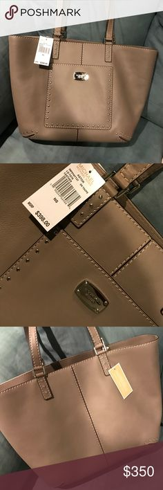 """NWT Michael Kors Tote Large Taupe Tote Brand New With Tag. Approximate Dimensions: 19"""" top width, 14"""" width, 12"""" height, 5.5"""" depth Michael Kors Bags Totes"""