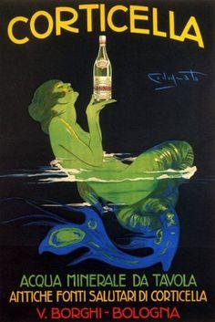 """ Corticella ~ Acqua Minerale "" Yep, another possible kitchen print Vintage Italian Posters, Vintage Advertising Posters, Vintage Advertisements, Vintage Ads, Vintage Mermaid, Mermaid Art, Mermaid Paintings, Tattoo Mermaid, Mermaids And Mermen"