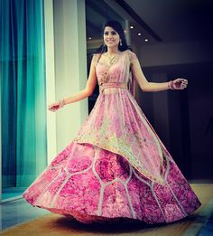 Beautiful Belted Bridal Lehengas That We Spotted On Real Brides Bollywood Lehenga, Pink Lehenga, Sabyasachi, Wedding Looks, Bridal Looks, Bridal Style, Engagement Outfits, Bridal Outfits, Indian Dresses