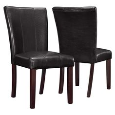 Monarch Specialties Dark Brown Upholstered 2 Piece Parson Chairs - I 1909