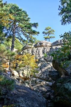 Robbers Cave State Park, Oklahoma. The edges are a little scary with really young children but the sights are beautiful!