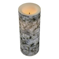 Geology White Granite Rock Texture Led Candle