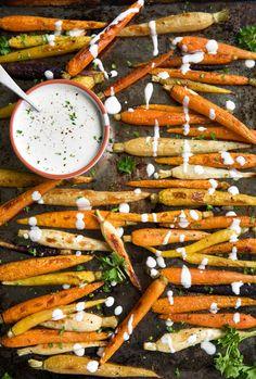 Roasted Carrots with Lemon Tahini Sauce