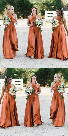 Outlet Cute Backless Bridesmaid Dress A-Line Halter Backless Long Cheap Orange Convertible Bridesmaid Dresses Online, A-Line Halter Backless Long Cheap Orange Convertible Bridesmaid Dresses Online Backless Bridesmaid Dress, Affordable Bridesmaid Dresses, Bridesmaid Dresses Online, Burnt Orange Bridesmaid Dresses, Backless Dresses, Vintage Bridesmaid Dresses, Burnt Orange Dress, Bridemaid Dresses Long, Burnt Orange Weddings