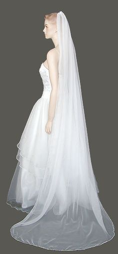 Chiffon Veil Chapel Length Wedding Veil Bridal Veil by distveils, $40.00