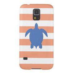 Nautical Blue Sea Turtle & Coral and White Stripes Samsung Galaxy Nexus Cover