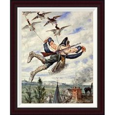 Global Gallery Illustrations For The Adventures of Baron Munchausen by Alphonse Adolf Bichard Framed Painting Print Size: