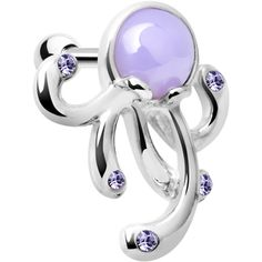 Silver 925 Purple Gem Floating Octopus Cartilage Tragus Earring | Body Candy Body Jewelry #bodycandy