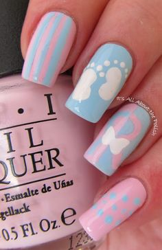 ~~pinned from site directly~~ . It's all about the polish: Pregnancy and Infant Loss Awareness day - Wave of Polish Baby Nail Art, Baby Nails, Girls Nails, Gender Reveal Nails, Nail Manicure, Nail Polish, Baby Shower Nails, Infant Loss Awareness, Pregnancy And Infant Loss