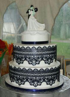 Frankenstein & His Bride wedding cake Lemon & blueberry cake with buttercream icing wrapped in edible lace. Wedding Bride, Wedding Stuff, Sugar Veil, Edible Lace, Blueberry Cake, Buttercream Icing, Frankenstein, Wedding Cakes, Lemon