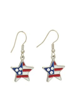 """Silver tone fishhook earrings featuring an Americana theme star of red white and navy enamel and three clear rhinestones. Stainless steel fish hooks. In an election year it is important to show your patriotism so this is a great little way to do that. They will also coordinate with many nautical looks!  Dimensions:Approximately 1 1/2"""" in length and 5/8"""" across the star's width  Star Patriotic Earrings by Mimi's Gift Gallery. Accessories - Jewelry - Earrings Kentucky"""