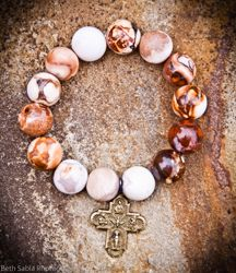 Opal Moroccan jasper with vintage brass medal - jasper is worn for protection from negativity. Gorgeous!